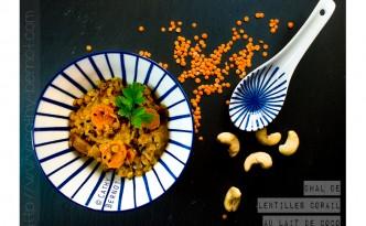 Dhal végétarien de lentilles corail aux légumes et lait de coco