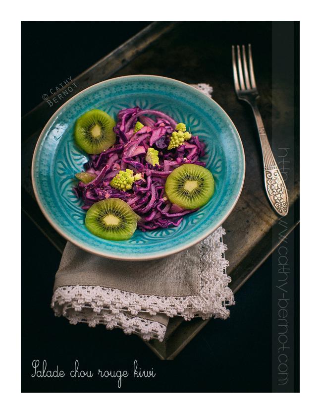 Salade de chou rouge kiwi et romanesco