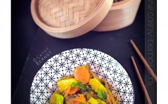 wok wégétarien de légumes sauce aigre-douce