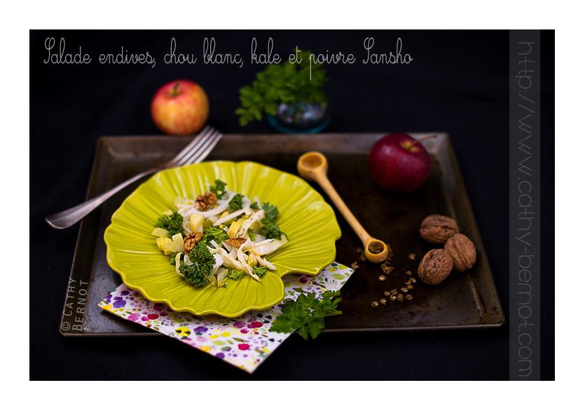 Salade endives, chou blanc et kale, poivre sansho