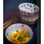 Wok fenouil, chou, mangue et pamplemousse