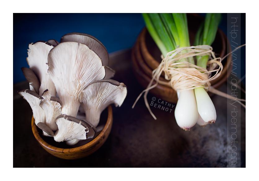 Champignons pleurotes bio et échalotes