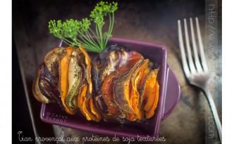 Tian aubergine, patate douce et protéines de soja