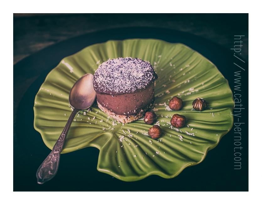 Gâteau chocolat végan cru sans cuisson sans lactose