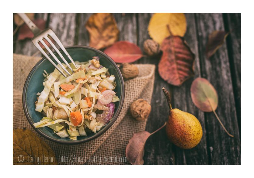 salade de chou pointu, noix et poire